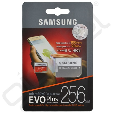 SAMSUNG MEMÓRIAKÁRTYA TransFlash 256GB (microSDXC EVO plus - Class 10, UHS-1) + SD adapter
